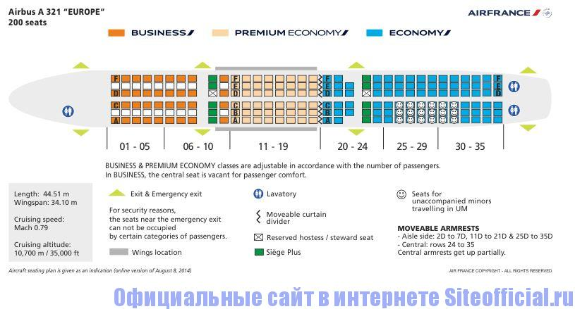 Официальный сайт Airfrance - Схема самолёта