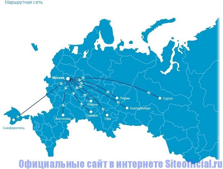 Официальный сайт Добролет - Маршрутная сеть