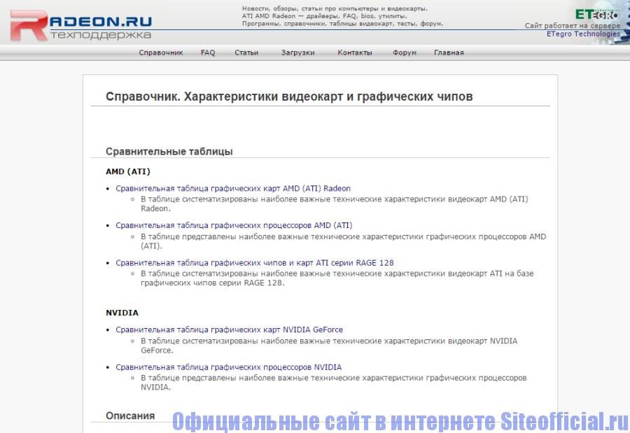 Официальный сайт Radeon – Раздел справочник