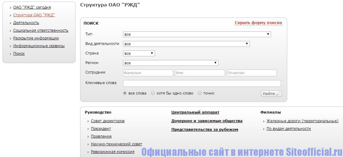 Официальный сайт РЖД - Структура
