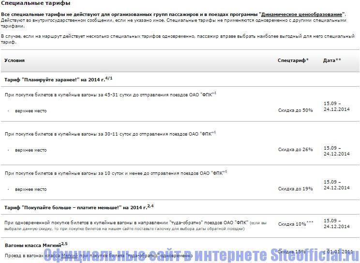 Официальный сайт РЖД - Специальный тарифы