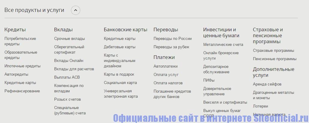 Официальный сайт Сбербанка - Все продукты и услуги