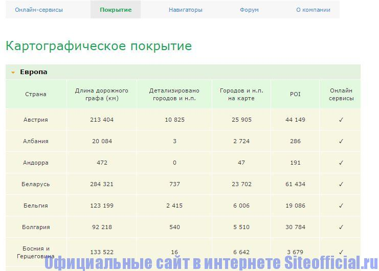 """Официальный сайт Навител - Вкладка """"Покрытие"""""""