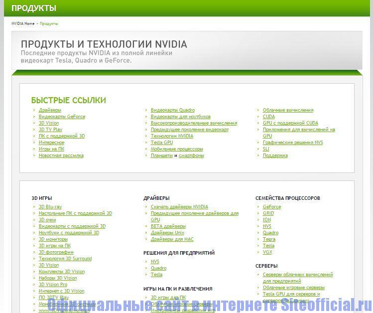"""Официальный сайт Nvidia - Вкладка """"Продукция"""""""