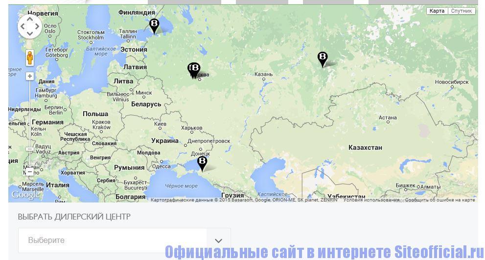 """Официальный сайт Бентли - Вкладка Официальные дилеры"""""""