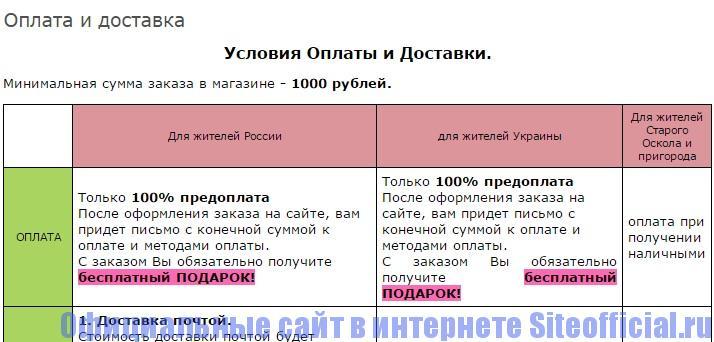 Официальный сайт Рецепты бабушки Агафьи - Оплата и доставка