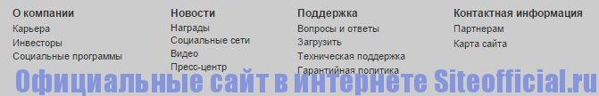 Официальный сайт Gigabyte - Вкладки