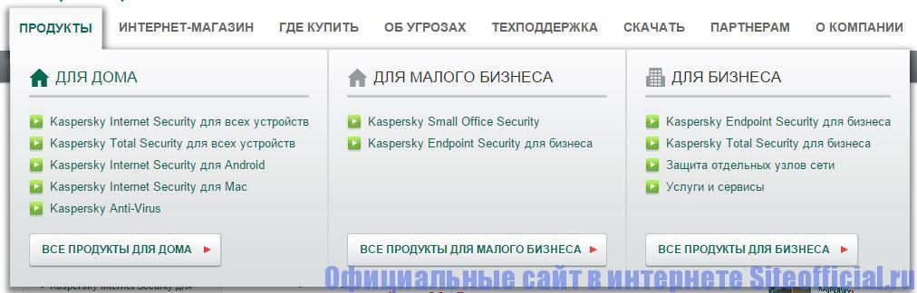 """Официальный сайт Касперского - Вкладка """"Продукты"""""""