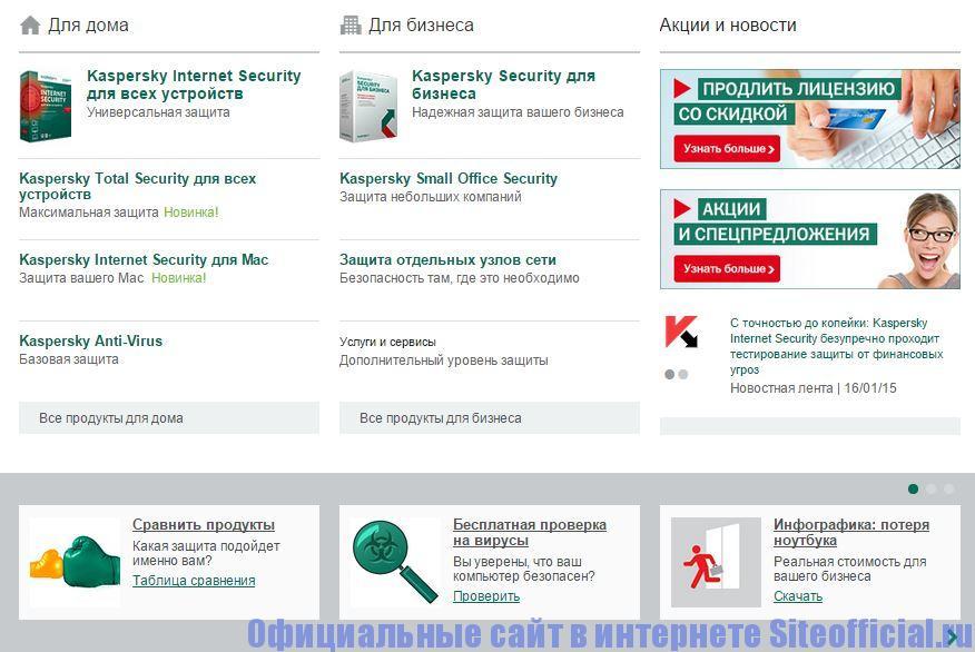 Официальный сайт Касперского - Вкладки