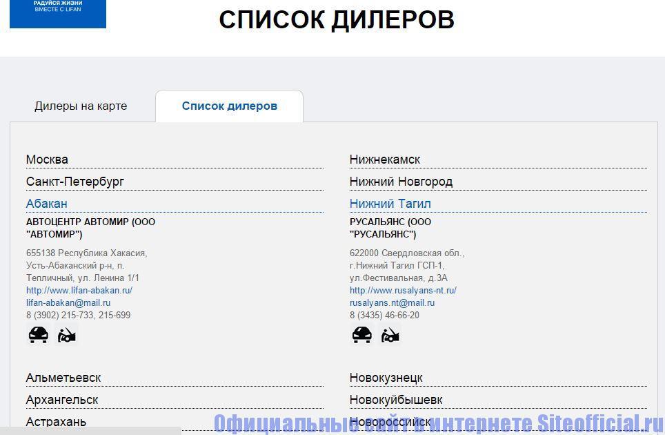 """Официальный сайт Лифан - Вкладка """"Список дилеров"""""""