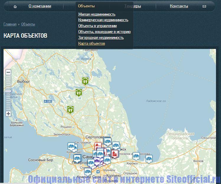 """Официальный сайт Унисто Петросталь - Вкладка """"Объекты"""""""