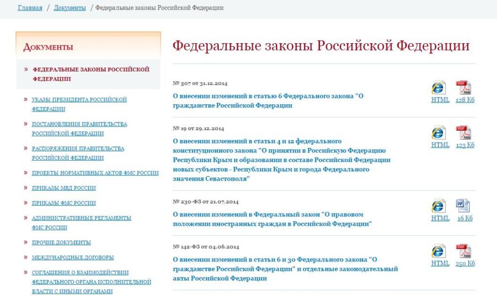 """Официальный сайт ФМС России - Вкладка """"Документы"""""""