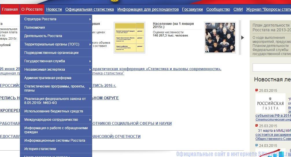 Росстат официальный сайт - Разделы