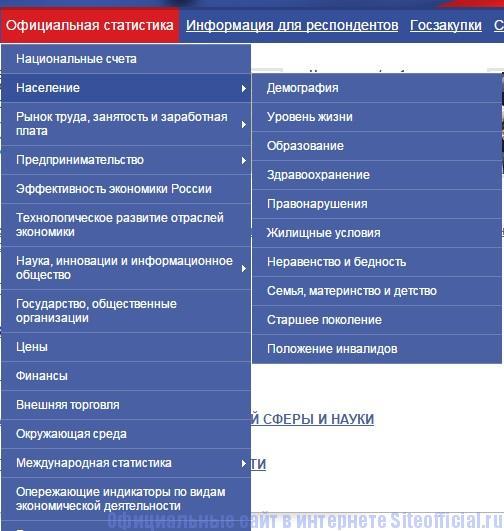 Росстат официальный сайт - Раздел Официальная статистика
