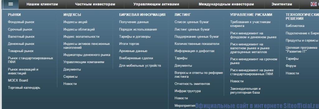 ММВБ официальный сайт - Разделы
