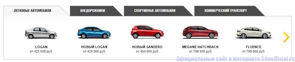 Официальный сайт Рено - Вкладки