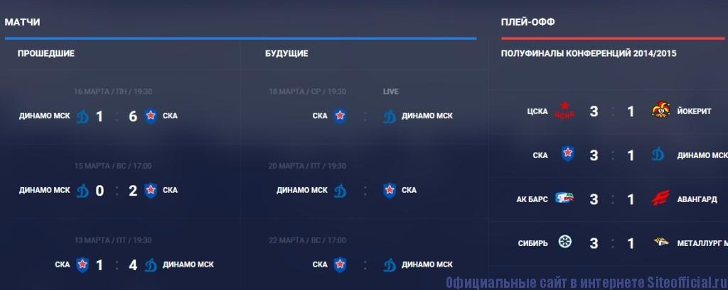Ска хоккей официальный сайт - Матчи