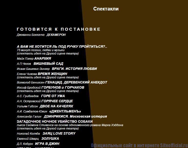 Современник официальный сайт - Спектакли