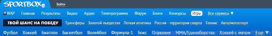 Sportbox.ru официальный сайт - Вкладки