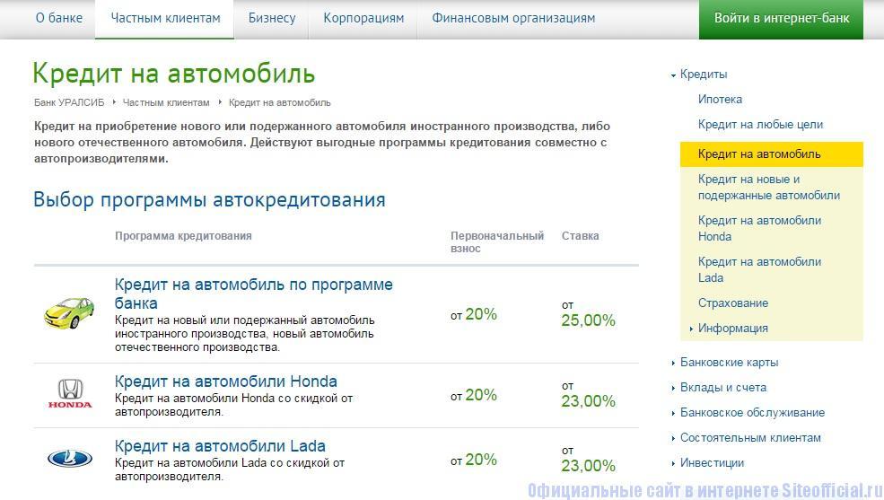 Уралсиб официальный сайт - Кредит на автомобиль