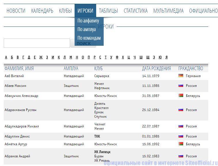 """ВХЛ официальный сайт - Вкладка """"Игроки"""""""