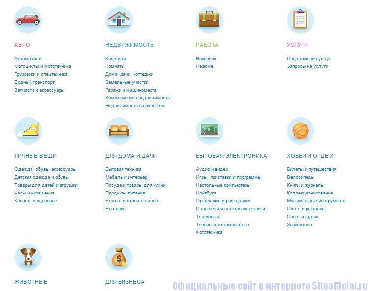 Авито.ру - Категории товаров и услуг