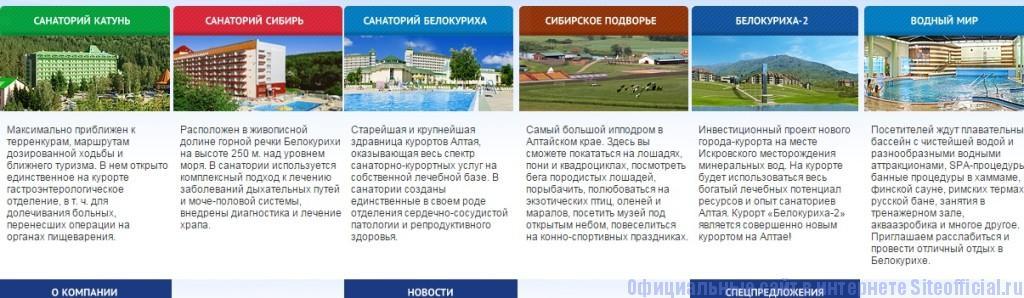 Белокуриха официальный сайт - Информация о санаториях