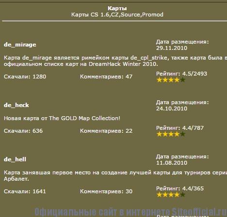 Официальный сайт КС - Карты