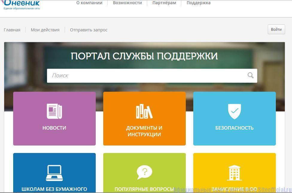 "Дневник.ру - Вкладка ""Служба поддержки"""