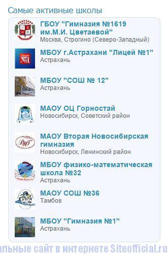 Дневник.ру - Список самых активных школ