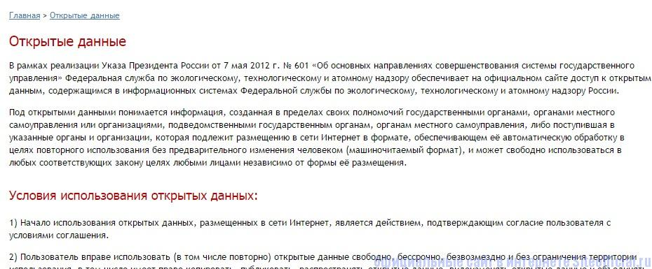 Ростехнадзор официальный сайт - Открытые данные