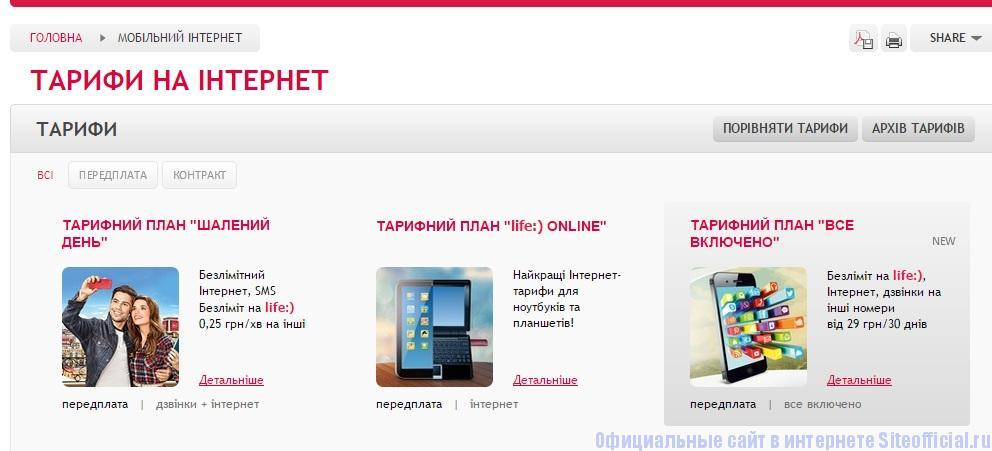 Лайф официальный сайт - Раздел Мобильный интернет, подраздел Тарифы