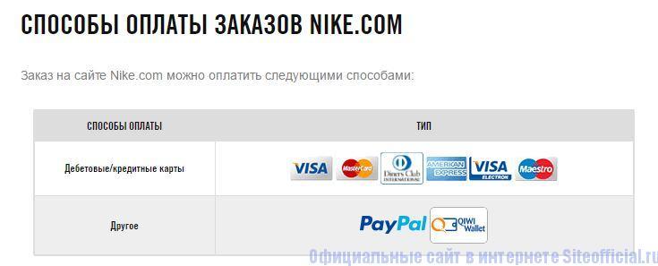 Способы оплаты в интернет магазине на официальном сайте Найк