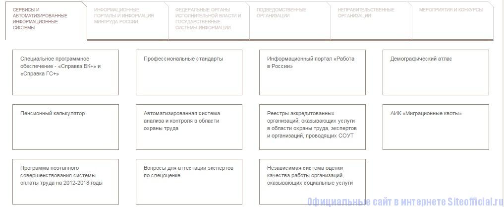 Минтруда официальный сайт - Сервисы и автоматизированные информационные системы