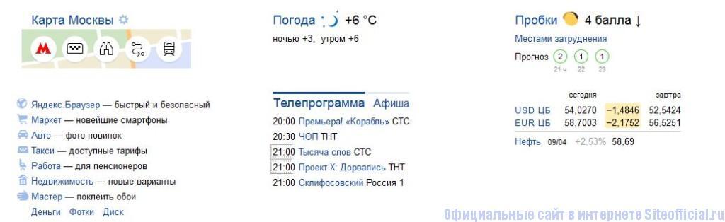 Яндекс.ру - Вкладки
