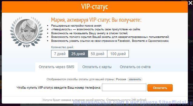"""Знакомства.ру - Вкладка """"VIP-статус"""""""