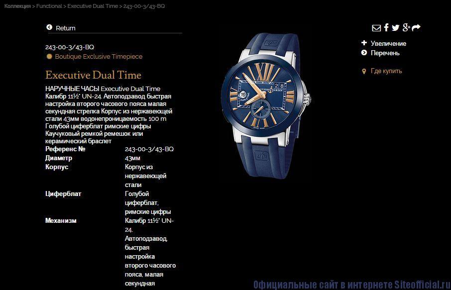 Ulysse Nardin официальный сайт - Описание часов
