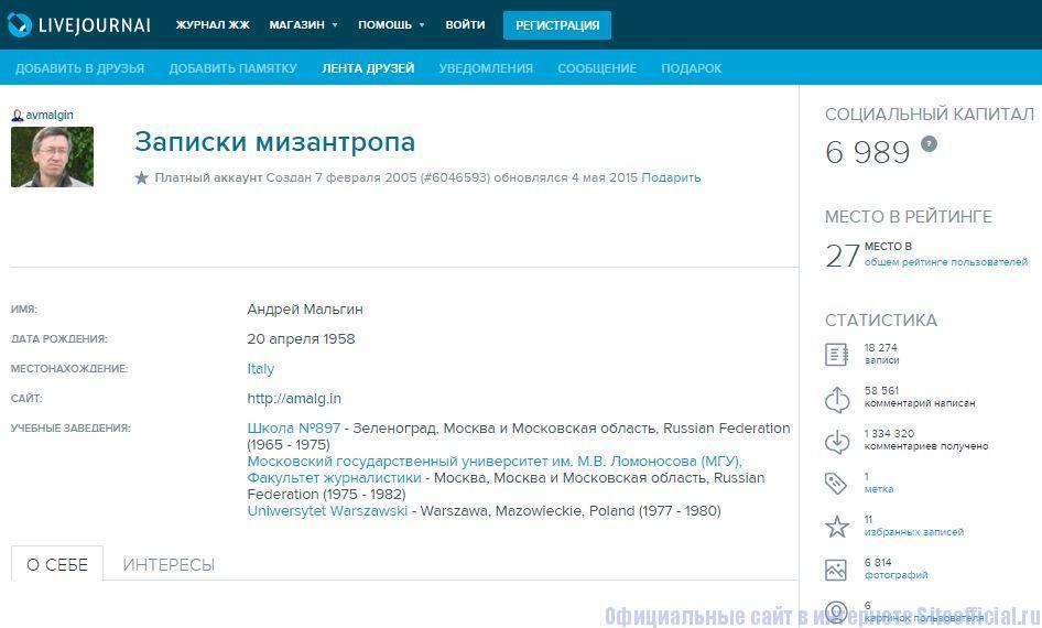 """ЖЖ Мальгин - Вкладка """"Профиль"""""""