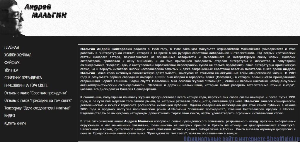 "ЖЖ Мальгин - Вкладка ""Мой сайт"""