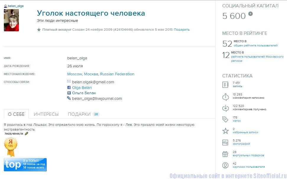 """ЖЖ Белан - Вкладка """"Profile"""""""