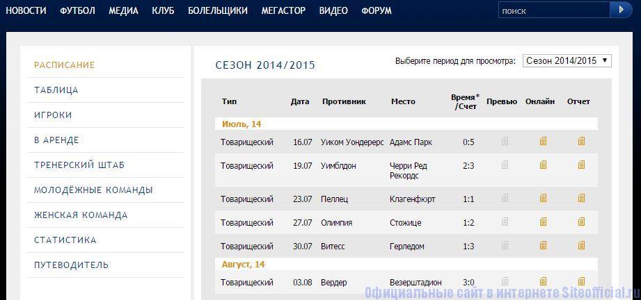 """Официальный сайт Челси - Вкладка """"Футбол"""""""