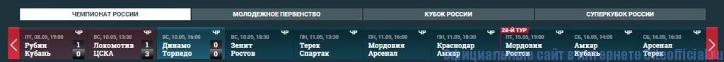 РФПЛ официальный сайт - Вкладки