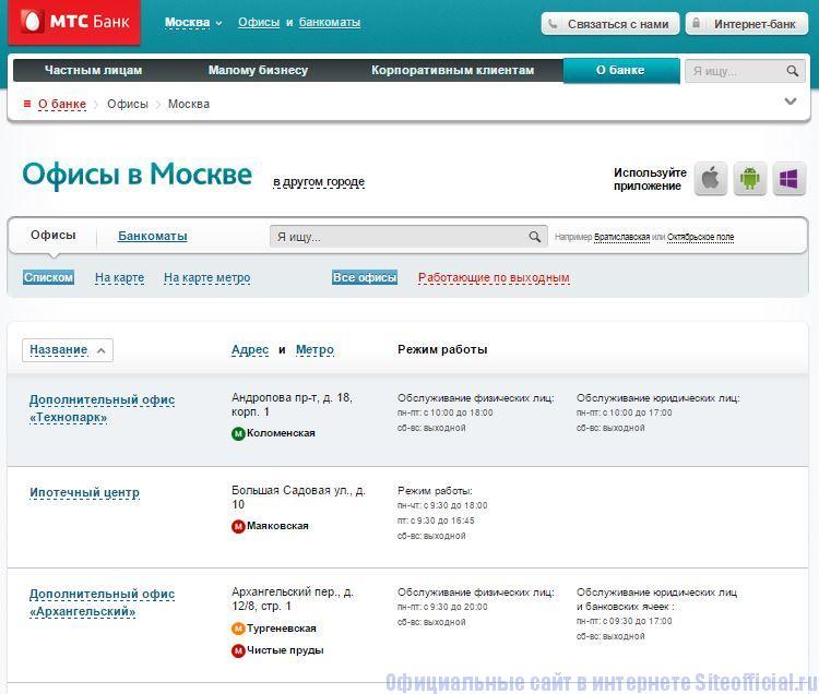 """Официальный сайт МТС Банк - Вкладка """"Офисы"""""""