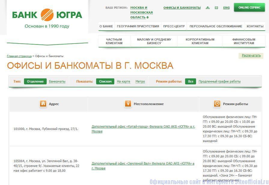 """Официальный сайт Югра банк - Вкладка """"Офисы и банкоматы"""""""