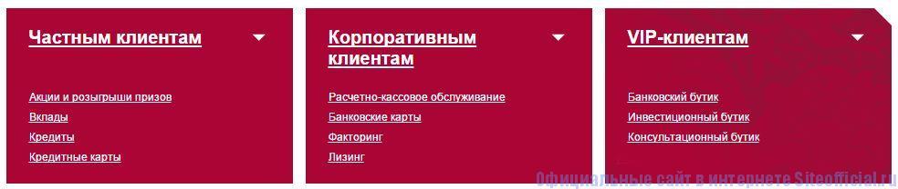 Официальный сайт Петрокоммерц - Вкладки