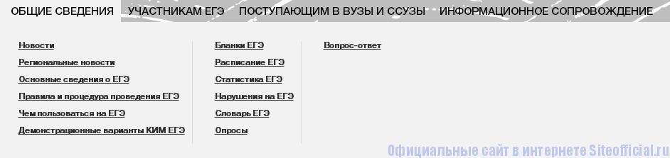 """ЕГЭ официальный сайт - Вкладка """"Общие сведения"""""""