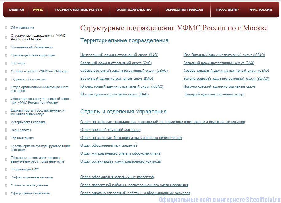 """ФМС Москва официальный сайт - Вкладка """"УФМС"""""""