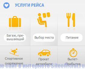 """Pegasus Airlines официальный сайт - Вкладка """"Услуги рейса"""""""