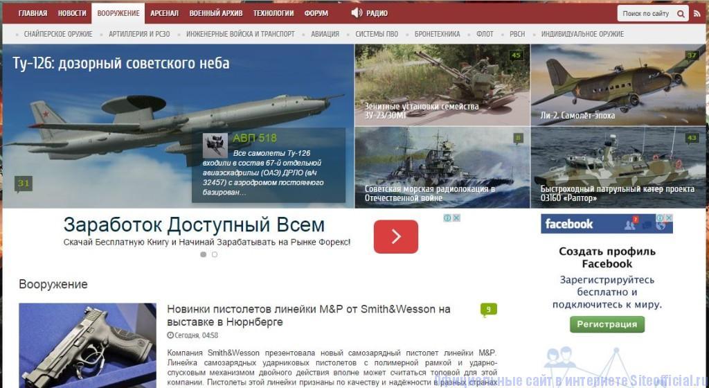 """Военное обозрение - Вкладка """"Вооружение"""""""