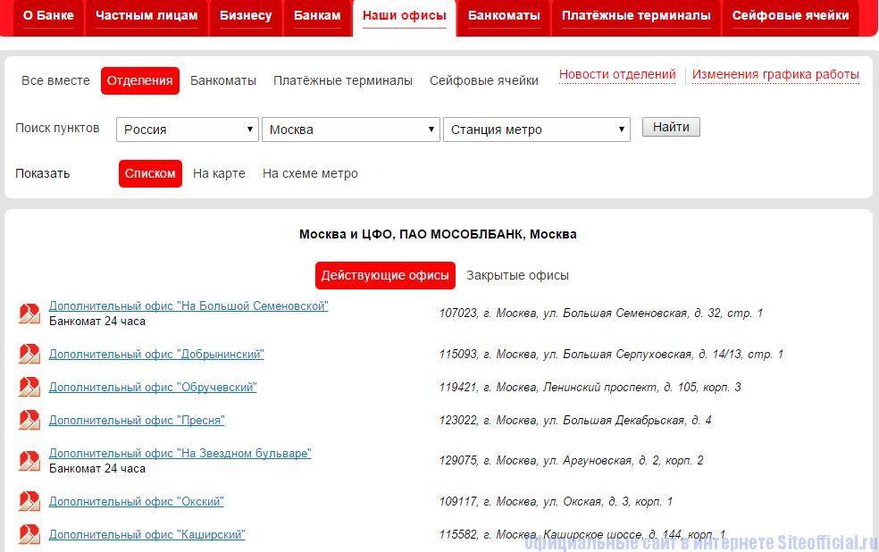 """Мособлбанк официальный сайт - Вкладка """"Наши офисы"""""""